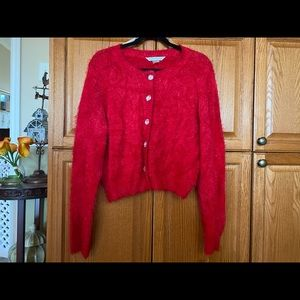 Bianca Nygord Fuzzy Red Sweater - L